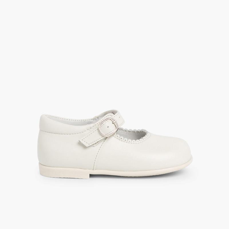 Sapatos Merceditas Pele Menina com Fivela