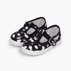 Sapatos Pepito Lona Estampada Fecho Botão Azul-marinho