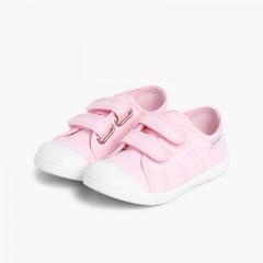 Ténis Lona Crianças com Velcro Rosa