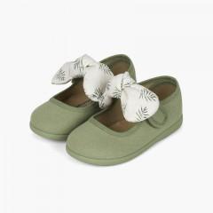 Sapatos Merceditas Laço Estampado Primeiros Passos Verde