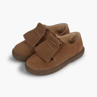 Sapatos Blucher Camurça Franjas Lisos Cinzento-acastanhado