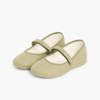 Sapatos Merceditas Linho com tiras aderentes   Fino Caqui