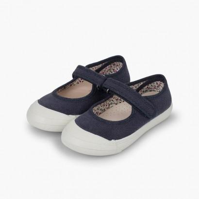 Sapatos Merceditas tiras aderentes   Biqueira Borracha Reforçada Azul-marinho
