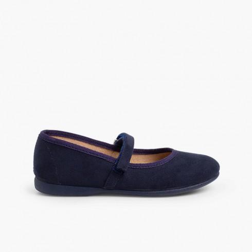 Sapatos Merceditas tipo Camurça com tiras aderentes