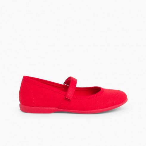 Sapatos Merceditas Tela com Tira Aderente Fina