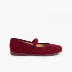 Sapatos Merceditas tipo Camurça com Velcro Bordeaux