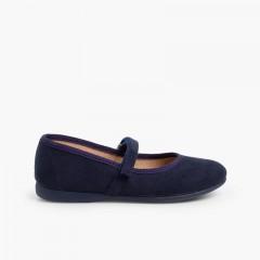 Sapatos Merceditas tipo Camurça com Velcro Azul-marinho