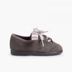 Sapatos estilo Inglês Crianças de Camurça Cinzento