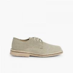 Sapatos Blucher Menino & Homem Tecido Canvas Tostado