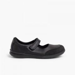Sapatos Colegiais Menina Merceditas Biqueira Reforçada  Preto