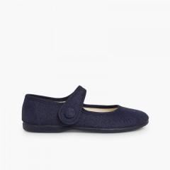 Sapatos Merceditas Linho Velcro Botão Azul-marinho