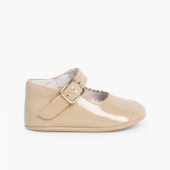 Sapato Mercedita Bebé Verniz Fivela Camel