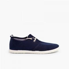 Sapatos Blucher Atacadores Sola de Borracha Azul-marinho