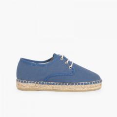 Sapatos Blucher de Lona com sola Alpargata Azul