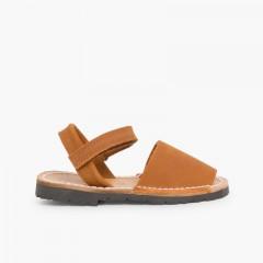 Sandálias Criança Menorquinas Nobuck Velcro Castanho