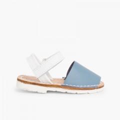 Sandálias Criança Menorquinas Velcro Napa Edição Especial Sola Branca Azul Claro