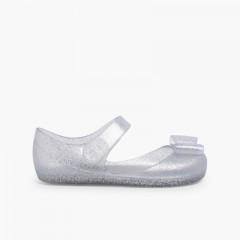 Merceditas Borracha Velcro Mia Laço Glitter Prata