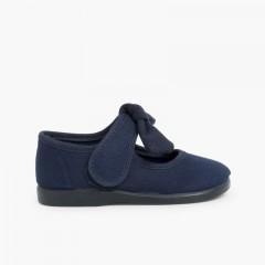 Sapatos Merceditas Lona Velcro Laço Liso Azul-marinho