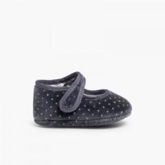 Sapatos Merceditas Bebé Veludo Brilhantes Cinzento