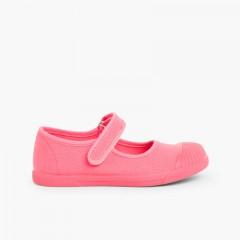 Sapatos Merceditas Lona Velcro Biqueira Borracha Coral
