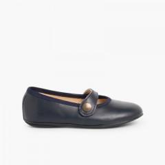 Sapatos Merceditas Menina Pele Cores Azul-marinho