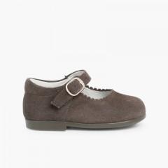 Sapatos Merceditas Camurça Menina com Fivela Cinzento
