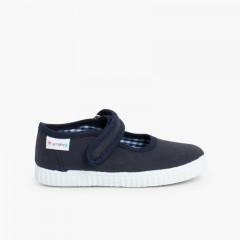 Sapatos Merceditas Menina Velcro Sola tipo Ténis Azul-marinho