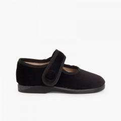 Sapatos Merceditas de Veludo com Botão Velcro Preto