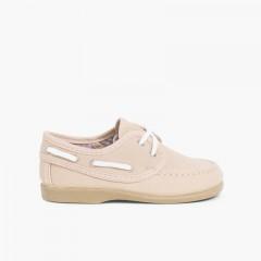 Sapatos de Vela Tecido com Atacadores Areia