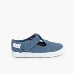 Sapato Pepito com Velcro sola ténis Azul Jeans
