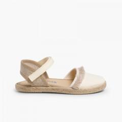 Sandálias Franjas tipo Alpargatas Fecho Velcro Bege
