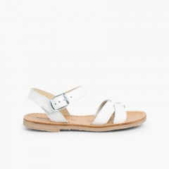 Sandálias Pele Lisa Cruzada Branco