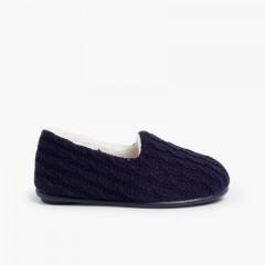 Pantufas Lã Oito Azul-marinho