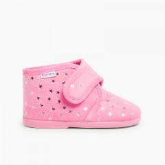 Pantufas Bota com Estrelinhas Rosa