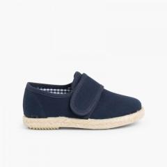 Sapatos Blucher Velcro Sola Alpargata Azul-marinho