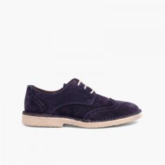 Sapatos Blucher com Picotado Azul-marinho