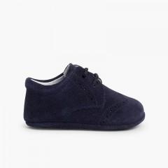 Sapatos Bebé de Camurça tipo Blucher Azul-marinho