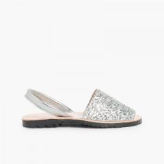 Sandálias Menorquinas Glitter Menina e Mulher Prata