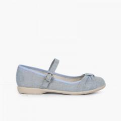 Sapatos Merceditas Cerimónia Laço Fivela Azul