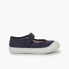 Sapatos Merceditas Velcro Biqueira Borracha Reforçada Azul-marinho