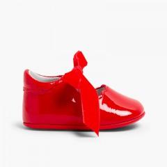 Sapatos Merceditas Bebé Verniz Laço Veludo Vermelho