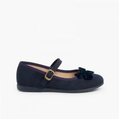 Sapatos Merceditas Menina Fivela Laço Veludo Azul-marinho