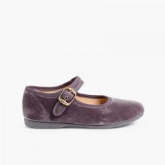 Sapatos Merceditas Veludo com Fivela Cinzento