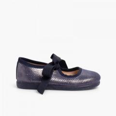 Sapatos Merceditas Menina com brilho e laço Azul-marinho