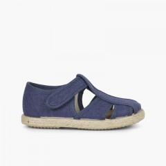 Sandálias Pepito Aberturas Lona e Juta Azul-marinho