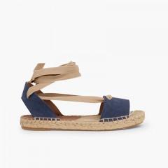 Sandálias Esparto de Camurça com Fitas Azul