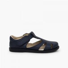 Sandálias Menino Pele Velcro tipo Pepitos Azul-marinho