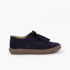 Sapatos Blucher Camurça Franjas Lisos Azul-marinho