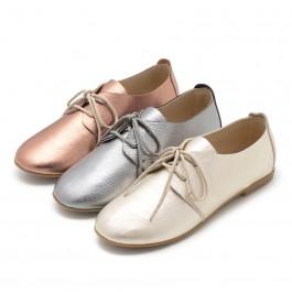 Sapatos Blucher Menina e Mulher Metalizados