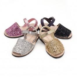 Sandálias Menorquinas Glitter com Velcro